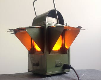 Railway Oil Lantern Light up cycled to Vintage Retro Table / Desk Lamp