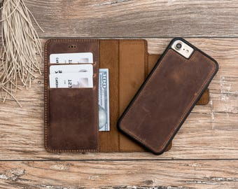 iPhone 7 Detachable Wallet Case, Leather iPhone 7 Wallet Case, Fathers day gift, iphone 7 leather case, iPhone 7 case leather, Gift # POLİ