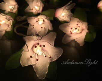 20 Light Pink Flower Fairy String Lights Party Patio Wedding Garland Gift Home Living Bedroom Holiday Decor