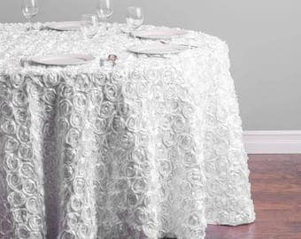118 in. Round Rosette Satin Tablecloth- 11 Colors