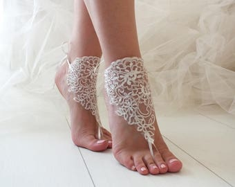 EXPRESS SHIPPING Ivory Lace Bridal Anklet, Lace Barefoot Sandals, Beach Wedding Barefoot Sandals, Lace Wedding Shoes Beach Shoes