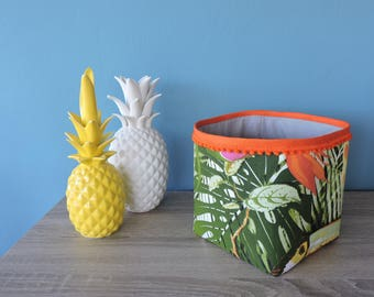 orange tropical fabric storage basket