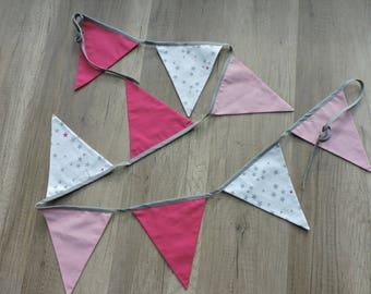 Garland fabric flags plain pink stars