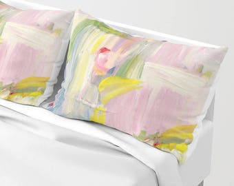 Abstract Pillow Case - set of two - pillow shams standard size, Pillow sham, blue bed shams