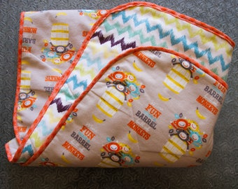 Baby Quilts Handmade, Monkeys and Chevron print, Flannel Baby Blanket, Gender Neutral