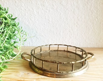 Vintage Brass Tray, Brass Bamboo Candleholder, Small Vintage Tray