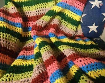 Colorful Rainbow Striped Afghan, Crochet Throw Blanket, Boho Decor