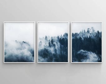 Set of 3 Indigo Forest Printable, 3 Piece Forest Print, Minimalist Poster,  Misty