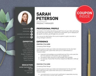 SALE Resume With Photo Two Page Resume Template Curriculum Vitae One Page  Resume Cv Cover Letter  Resume One Page