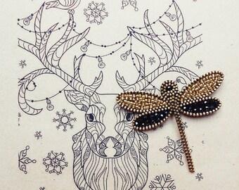 Dragonfly Brooch - Elegant Brooch - Glass Beads Brooch - Zipper Brooch - Zipper Jewelry