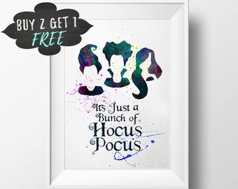 hocus pocus art print, sanderson sisters, bunch hocus pocus halloween print decor happy halloween printable wall art decoration party poster