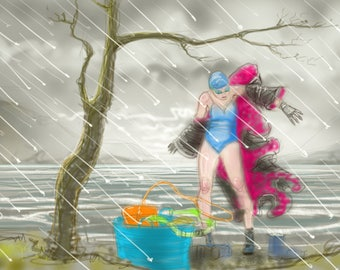 Art print - 'What to do on a Wet Sunday in Cumbria' - open water swimming, wild swimming, A4 or A3 size.