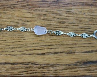Lavender beach glass flower bracelet