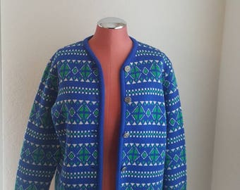 VINTAGE//70'S//Printed//royal blue//unique//cardigan//size medium//100% wool// Ugly xmas sweater