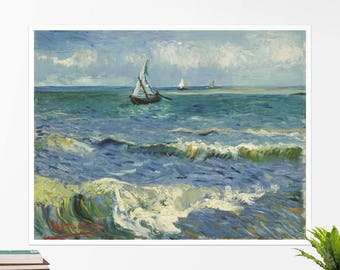 "Vincent Van Gogh, ""Fishing Boats at Saintes-Maries"". Art poster, art print, rolled canvas, art canvas, wall art, wall decor"