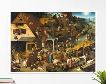 """Pieter Bruegel, """"The Dutch Proverbs"""". Art poster, art print, rolled canvas, art canvas, wall art, wall decor"""