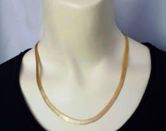 "Gold Tone Chain Necklace/Herringbone Chain Necklace/18"" Yellow Gold Chain/90,s Gold Chain Necklace/14 K EG Necklace/No.077"