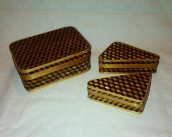 Vintage oriental Wicker / bamboo weaved and glazed trio of trinket boxes - China - set - storage - Art