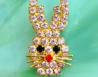 Rabbit Pin | Rabbit Brooch | Bunny Pin | Bunny Brooch | Bunny Rabbit | Animal Jewelry Pins | Birthday Gifts | Vintage Rhinestone Jewelry