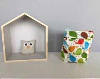 Bird motif fabric storage basket