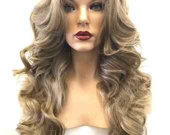 Ash Blonde Brown Balayage' Wet Curl Human Hair Blend 4x4 Silk Top Multi Parting Lace Front Wig -  Anita 626 171