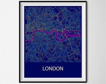 London Map Poster Print - Night