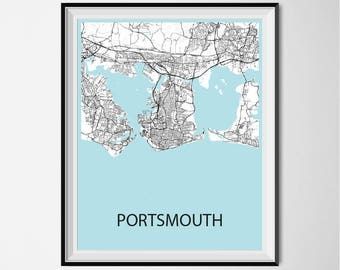 Portsmouth Map Poster Print - Black and White