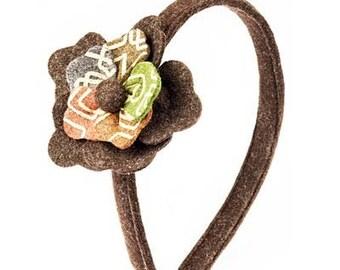 Boiled wool fabric flower headband