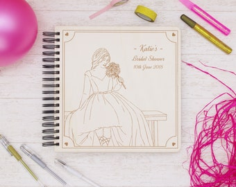 Personalized Bridal Shower Guest Book, Hen Party Gift, Letters To The Bride Wooden Photo Album, Advice Book For Brides, Wishes For The Mrs