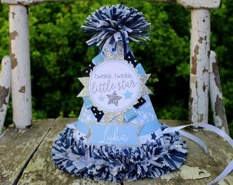 Twinkle Star Party Hat Boy - First Birthday Party Hat - Twinkle Twinkle Little Star First Birthday - Boy Birthday - Blue and Silver