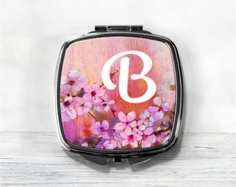 Monogram Compact Mirror - Personalized Bridesmaid Gift - Purse Mirror