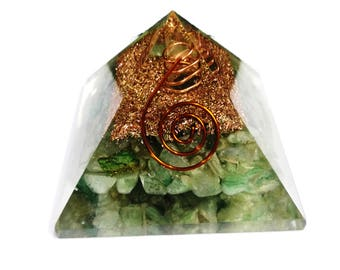 Prosperity Orgone Pyramid , Green Aventurine Orgone , Aventurine Pyramid EMF protection , Heart Chakra. SALE!