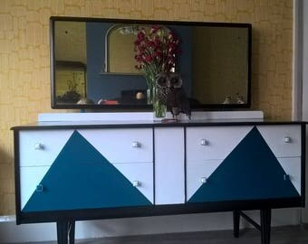 Refurbished dressing table chest of drawers retro art deco design teal white and black upcycled shabby chic