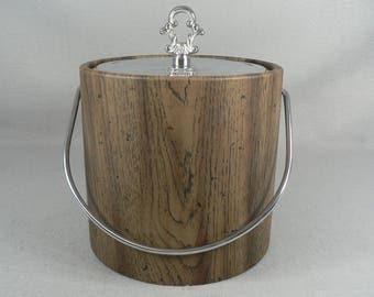Irvinware Ice Bucket, Mid Century Retro, Barware Accessory ,Insulated, with Finial Top