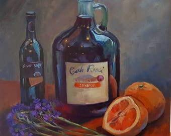 Original oil painting still life wine