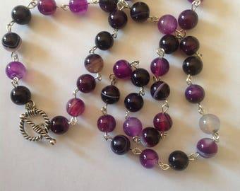 Purple banded agate necklace semi precious necklace gemstone necklace purple necklace agate necklace beaded necklace handmade necklace