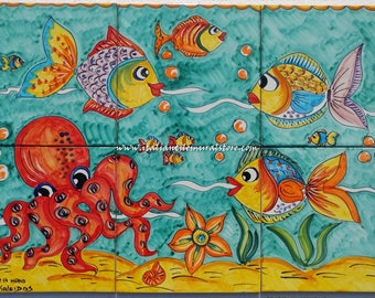 Tile Ceramic handmade and hand painted .Mural art tiles and depicts several tropical fish swimming in the sea. Custom for You!!