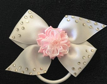 Pink Flower Pinwheel Bow Ponytail