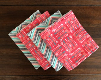 Coral and Teal Arrow Burp Cloths, Terry Cloth Backs, Set of 2 or 4