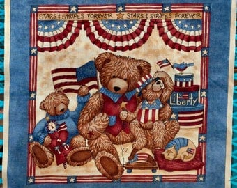 Patriotic Teddy Bear Fabric Square - Stars and Stripes Forever