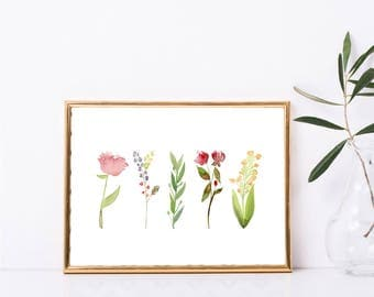 Instant Download, Botanical Print, Watercolor Botanical Flower Printable Wall Art, Floral Wall Print, Wall Decor, Instant Digital Download