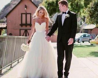 Simple Wedding Dress Silk Top Tulle Bottom Wedding Gown Princess Spaghetti Strap Beach