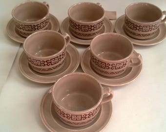 """Gorgeous Vintage Tams ware cup and saucers brown """"aztec"""" pattern"""