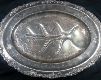 SILVER Meat CARVING TRAY Vintage Grape & Vines Continential 1920-1950