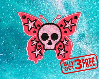 Pink Ghost Butterfly Applique IRON ON PATCH funny patches Butterfly Patch