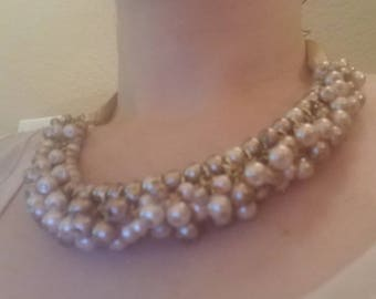Champagne Pearl and Ribbon Necklace