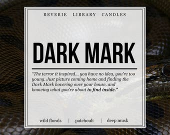 Dark Mark ~ Harry Potter ~ 8 oz ~ Soy Candle for Bibliophiles