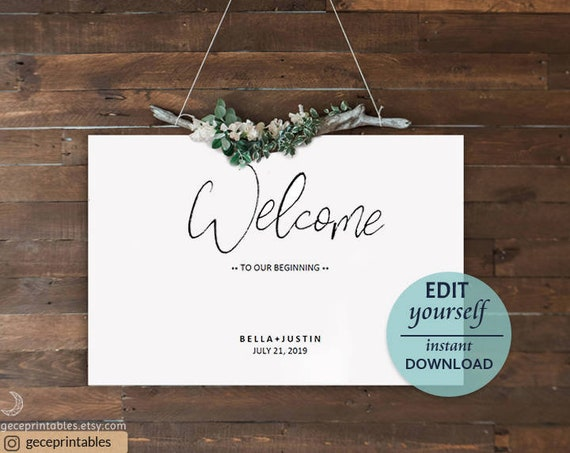 editable welcome sign template printable welcome sign diy wedding