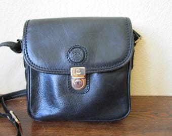 Black Leather bag, Cross Body Bag, Black Leather Purse, Vintage Leather Bag, Cross Body Satchel, Black Satchel, Black Saddle Bag