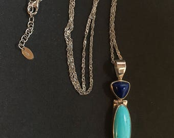 Acleoni Turquoise Necklace, Lapis Necklace, Multi Gemstone Necklace, Sterling Necklace, Turquoise Jewelry, Southwestern Jewelry, Blue Gem